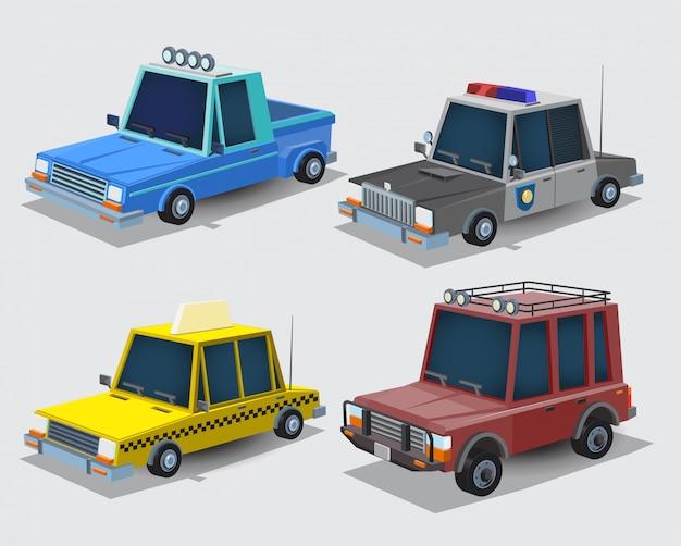 漫画車のコレクション。村のピックアップトラック、パトカー、タクシー、ジープ。車は、分離の白い背景を設定します。図 Premiumベクター