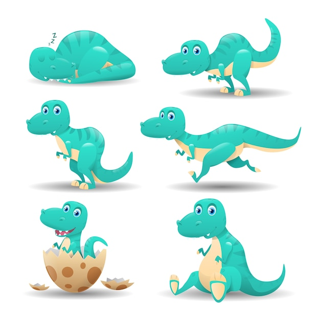 漫画恐竜のコレクション Premiumベクター