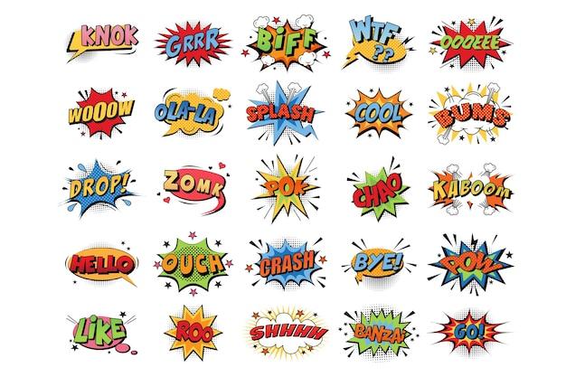 만화 감정 색상 폭발의 컬렉션 프리미엄 벡터