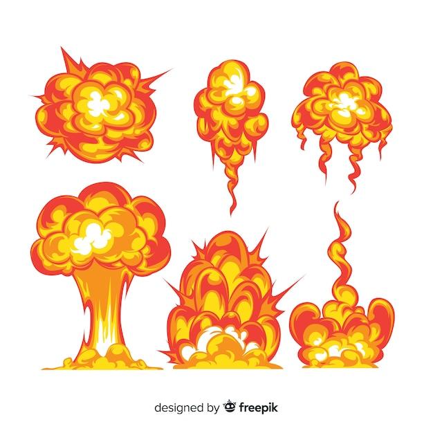 Сборник мультфильмов взрывных эффектов Бесплатные векторы