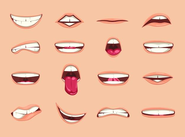 漫画の唇のコレクション。 Premiumベクター