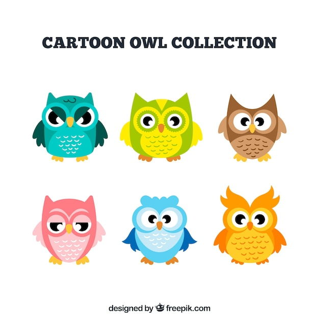 Collection of cartoon owls in different\ colors