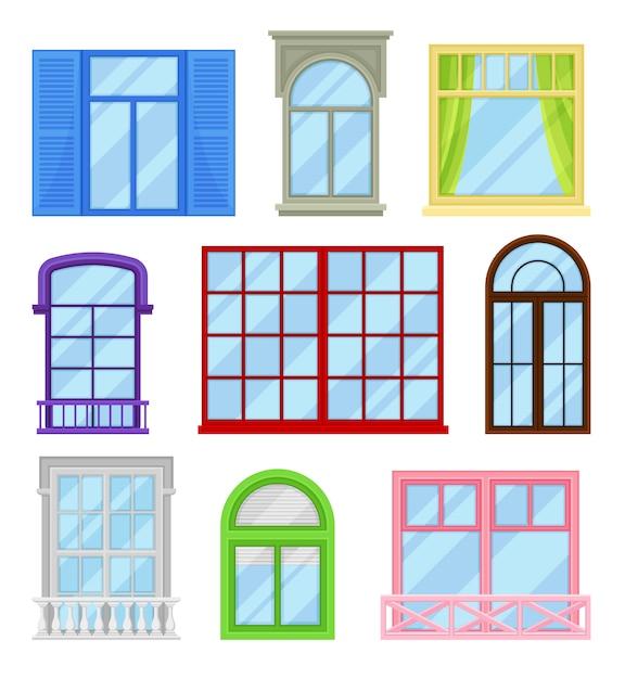 Коллекция мультфильмов windows на белом фоне. Premium векторы
