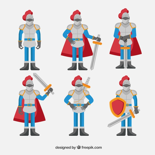 Character Design Vector Free Download : Collection of characters with armor in flat design vector
