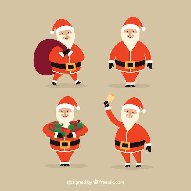 Collection of cheerful santa claus in different postures