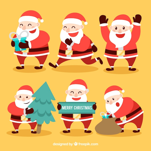 Collection of cheerful santa claus