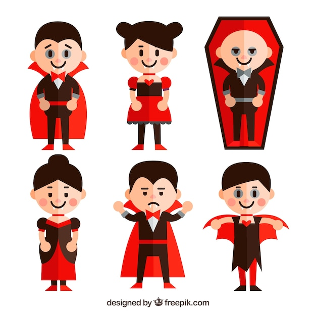 Collection of children disguised as vampire Free Vector
