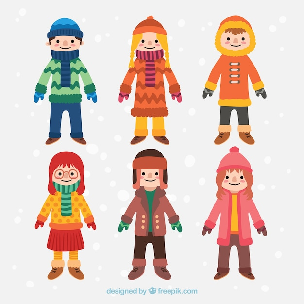 Collection of children in winter clothes