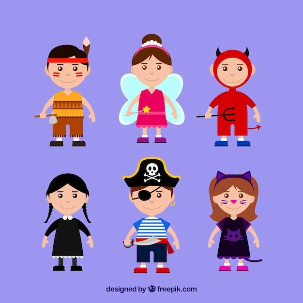 Collection of children with halloween costumes Free Vector
