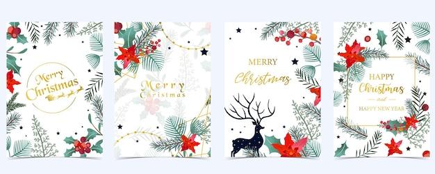 크리스마스 배경의 컬렉션 홀리 잎, 꽃, 순록으로 설정합니다. 새 해 초대장, 엽서 및 웹 사이트 배너 편집 가능한 벡터 일러스트 레이 션 프리미엄 벡터