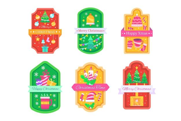 Коллекция рождественского значка в плоском дизайне Бесплатные векторы