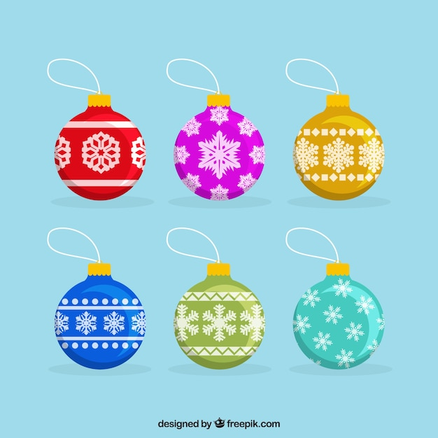 Collection of christmas balls in flat\ design