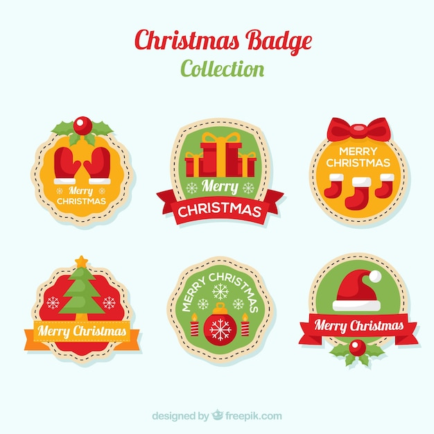Collection of christmas decorative badge