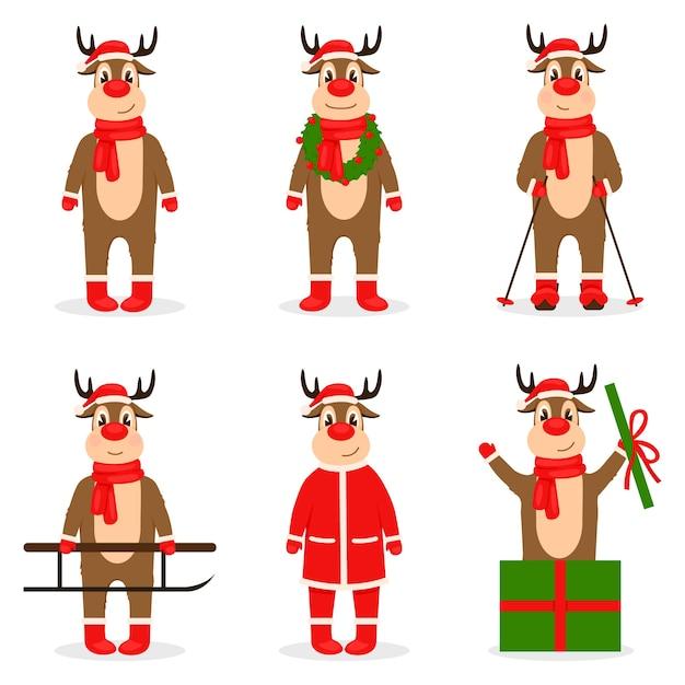クリスマス鹿のコレクション Premiumベクター