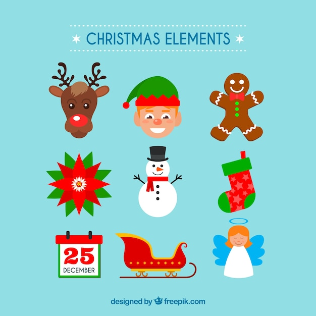 Collection of christmas element in flat design Free Vector