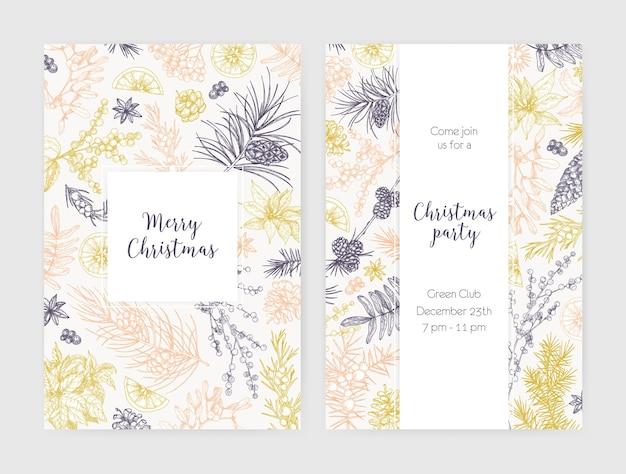 Коллекция рождественских флаеров, открыток или шаблонов приглашений на вечеринку, украшенных сезонными растениями, нарисованными контурными линиями на белом пространстве Premium векторы