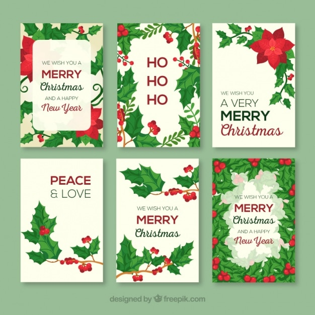 Collection of christmas greeting cards with poinsettias vector collection of christmas greeting cards with poinsettias free vector m4hsunfo