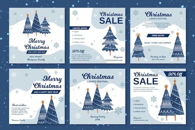 クリスマスのinstagramの投稿のコレクション 無料ベクター