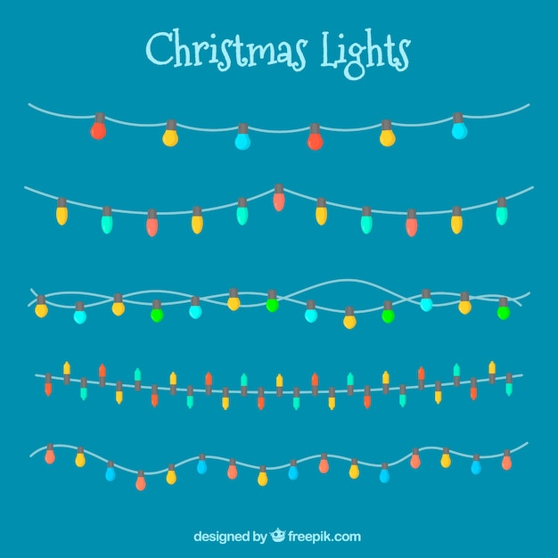 Collection of christmas lights on a blue background