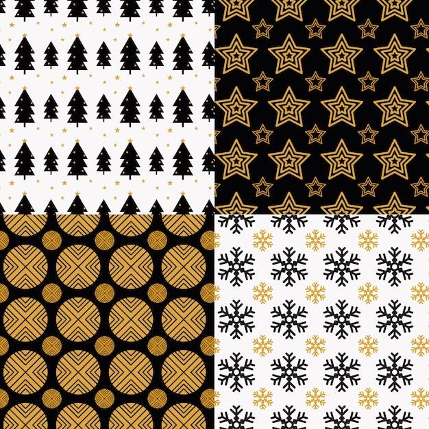 평면 디자인에 크리스마스 패턴의 컬렉션 무료 벡터