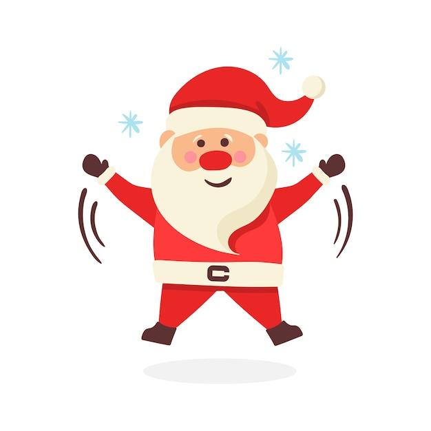 クリスマスサンタクロースのコレクション。面白い漫画のキャラクターのセット Premiumベクター