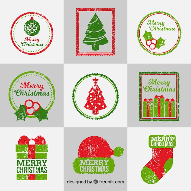 Collection of christmas stamps in red and green