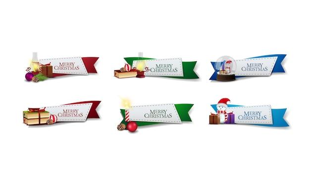선물 및 크리스마스 요소 장식 리본 모양의 크리스마스 스티커 컬렉션. 고립 된 인사말 웹 배너 프리미엄 벡터