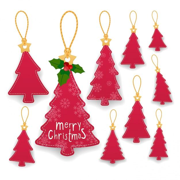ロープでタグをぶら下げクリスマスツリーのコレクション。クラフト紙のラベル。 Premiumベクター