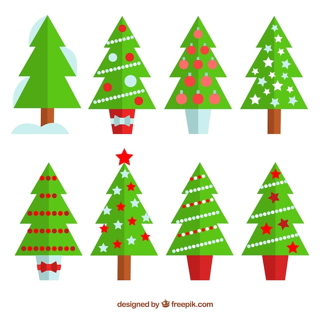 collection of christmas tree in flat design free vector - Flat Christmas Tree