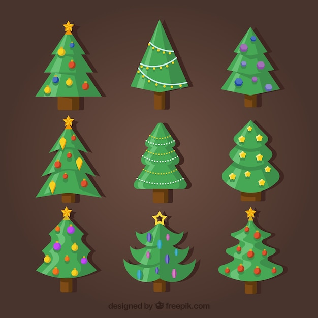 Collection of christmas tree with\ ornaments