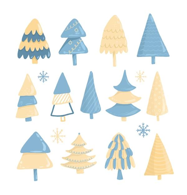 Коллекция рождественских елок, рисованной, изолированные на белом фоне Premium векторы