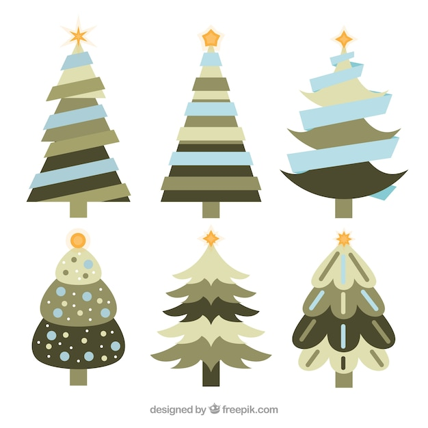 Collection of christmas trees in blue, grey and green tones
