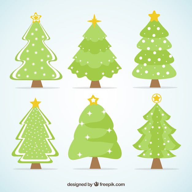 Collection of christmas trees with stars