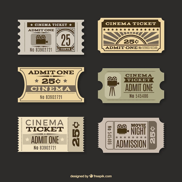 Collection of cinema tickets in retro style