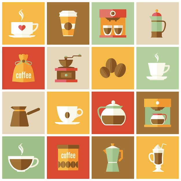 Collection of coffee icons in flat\ design