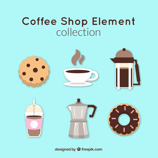Collection of coffee maker and coffee\ elements