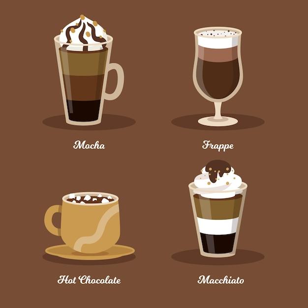 Коллекция видов кофе Бесплатные векторы