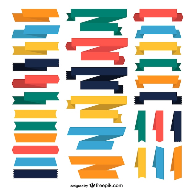 Collection of color ribbons Free Vector