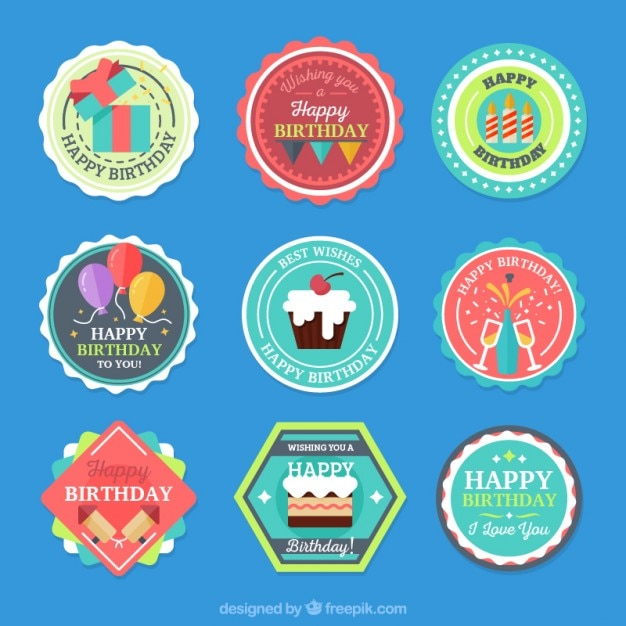 Collection of colored birthday label