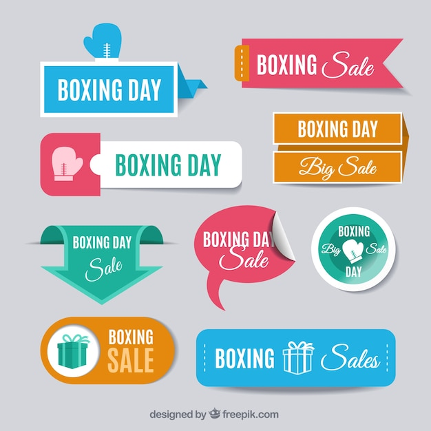Collection of colored boxing day sales