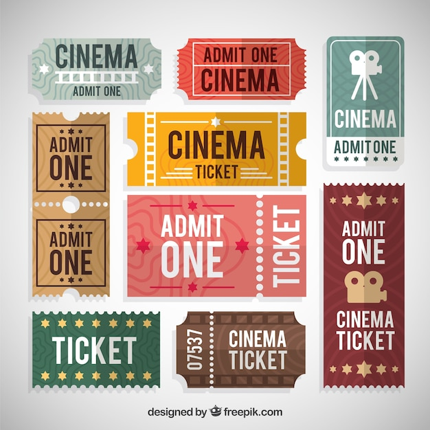 collection of colored cinema ticket in flat design vector free
