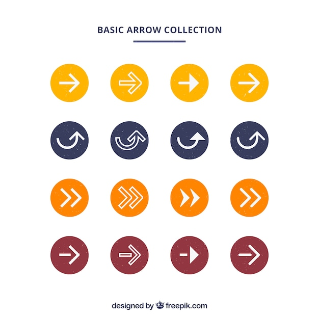 Collection of colored circle with arrows