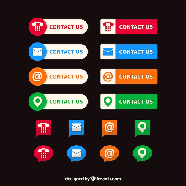 Collection of colored contact buttons and icons Free Vector