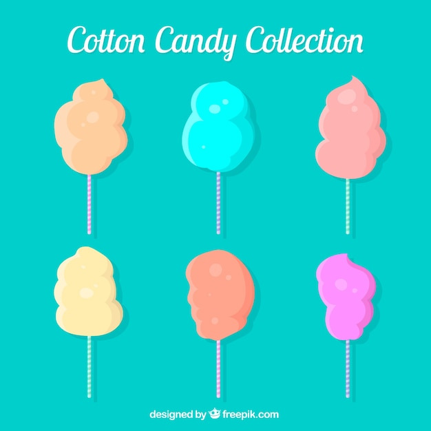 Collection of colored cotton candy