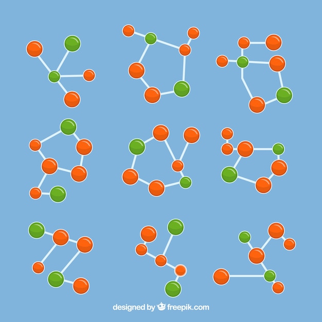 Collection of colored molecular structures