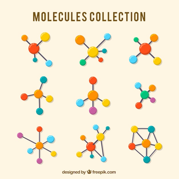 Collection of colored molecule in flat design