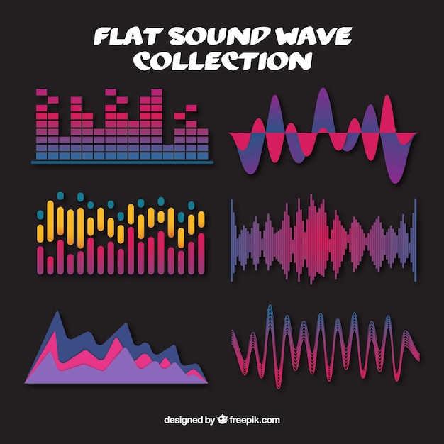 Free Download: Collection of colored sound waves in flat design