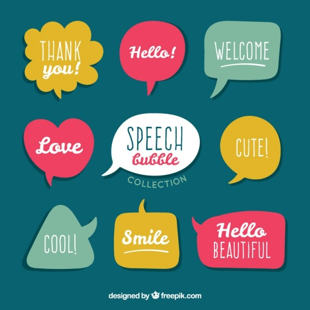 Collection of colored speech bubble Free Vector