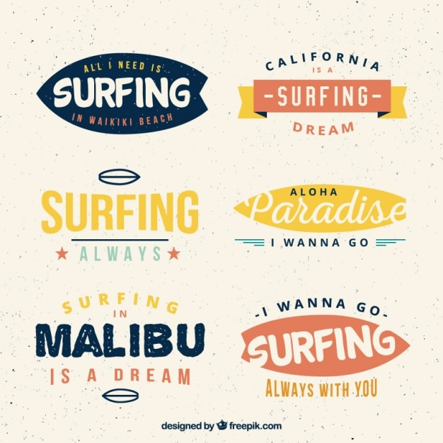 Collection of colored surfing badge
