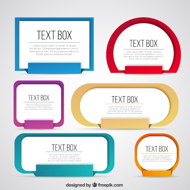 collection of colored text box vector free download
